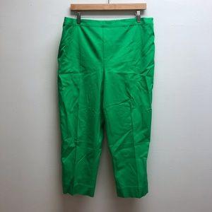 Isaac mizrahilive green elastic waist pants